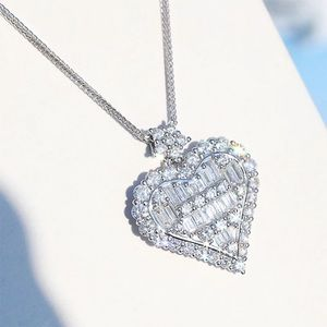 Jewelry - Platinum plated micro paved heart pendant necklace